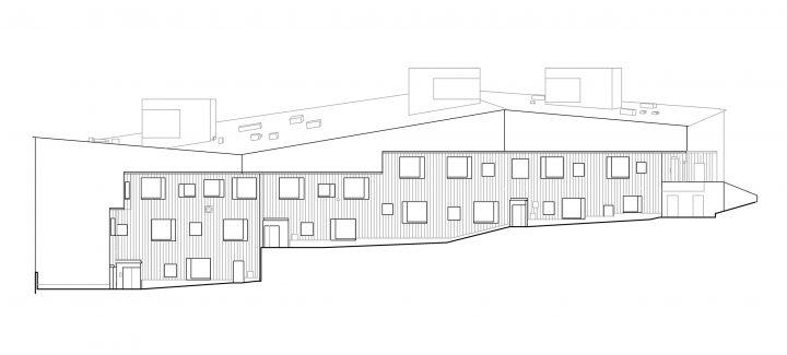 East (courtyard side) elevation, Viikinmäki Community Centre