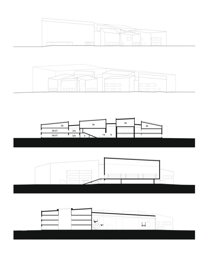 Elevations, sections., Opinmäki School and Learning Centre