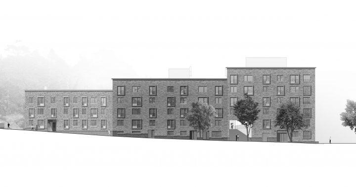 Street side elevation, Heka Koirasaarentie 36 Affordable Housing