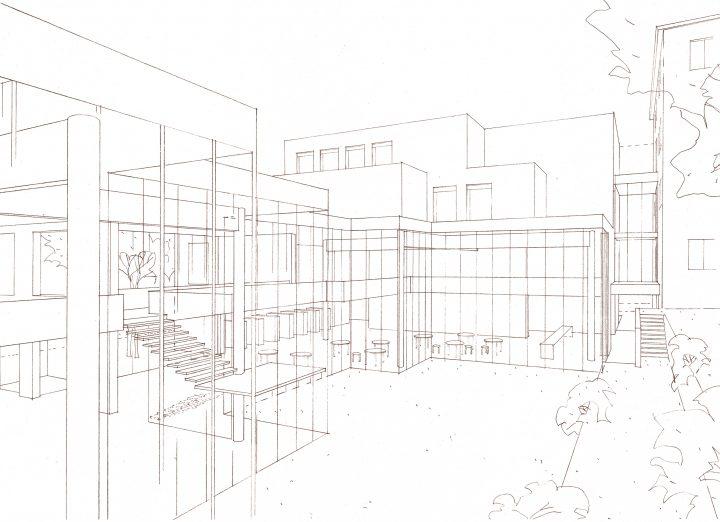 Illustration from the courtyard, Swedish School of Social Science, University of Helsinki