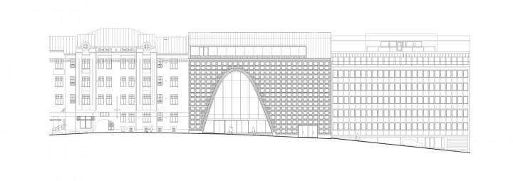 Fabianinkatu street elevation, Helsinki University Main Library Kaisa