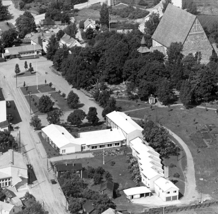 Aerial view from the east, Lohja Parish Hall