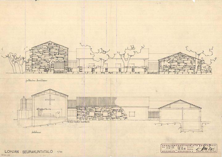 Elevation plan, Lohja Parish Hall