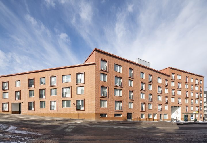 Street side, Heka Koirasaarentie 36 Affordable Housing