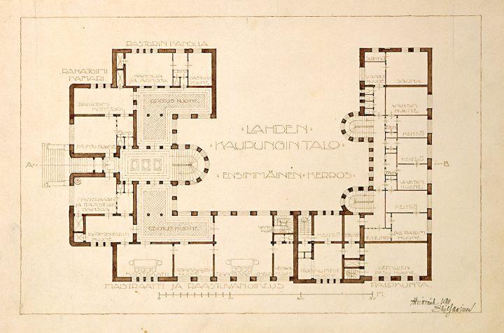Floorplan of the ground floor, Lahti Town Hall
