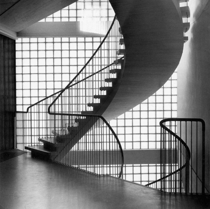 Main staircase in 1957, Helsinki University Porthania Building