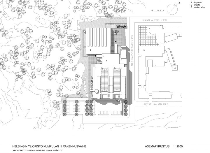 Site plan, Helsinki University Physicum Building