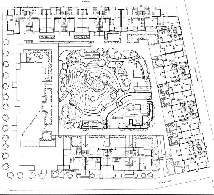 Site plan, Haapapuistikko, Hämeenpuistikko and Vetehisenkuja 2 Housing