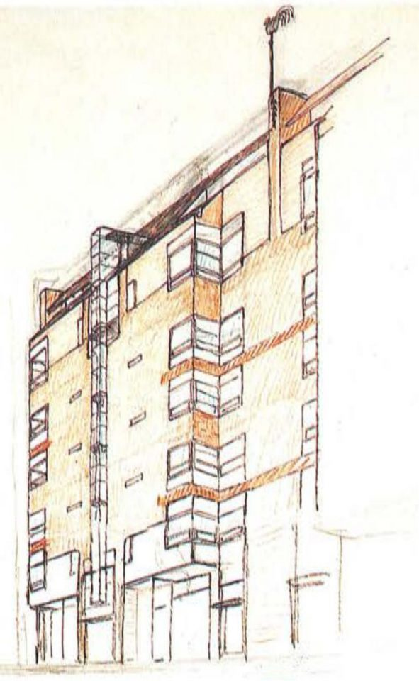 Street elevation plan, Haapapuistikko, Hämeenpuistikko and Vetehisenkuja 2 Housing