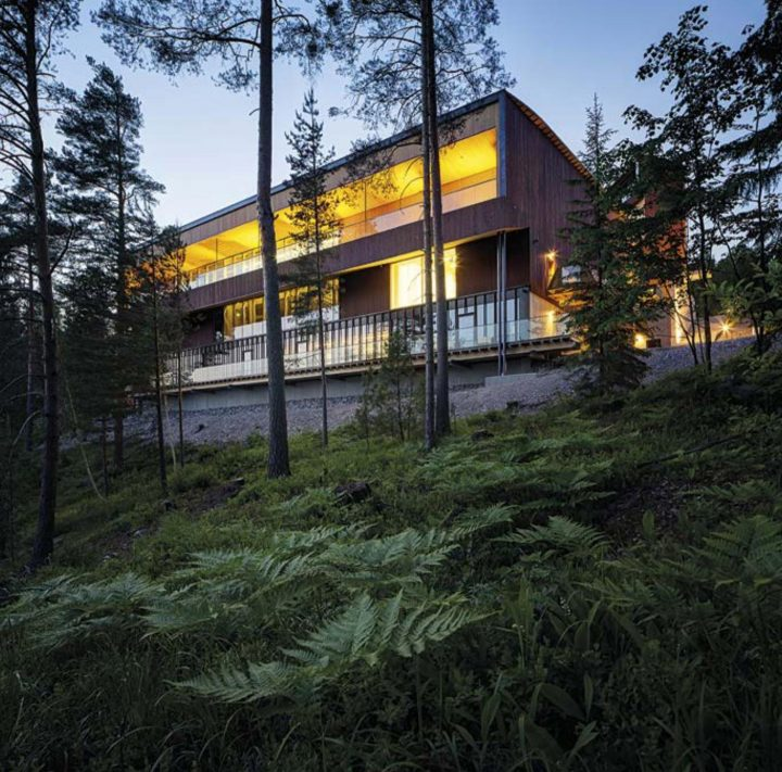 Balcony opens to the woods of the Nuuksio National Park, The Finnish Nature Centre Haltia