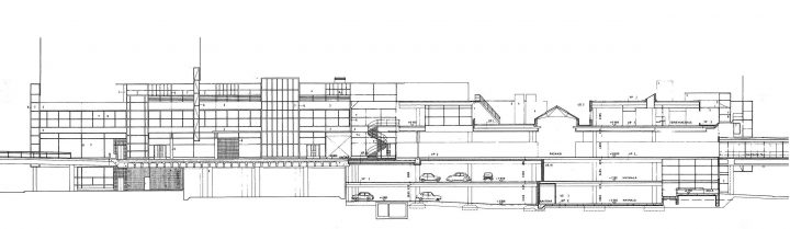 Southwest elevation and section plan, Itis Shopping Centre 1st phase