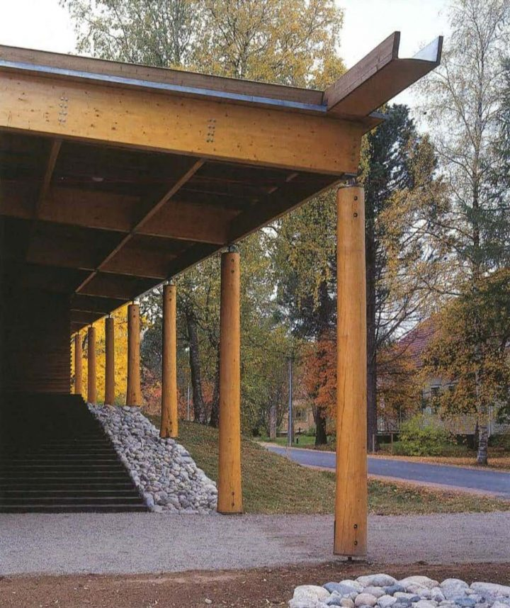 Entrance canopy, Juminkeko Information Centre for the Kalevala and Karelian Culture