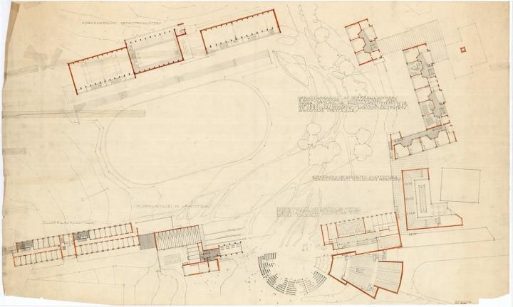 The original site plan of the Aalto's Campus, University of Jyväskylä, the Aalto's Campus