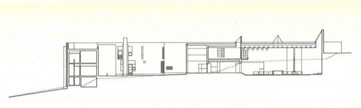 Longitudinal section plan, Kauniainen Church