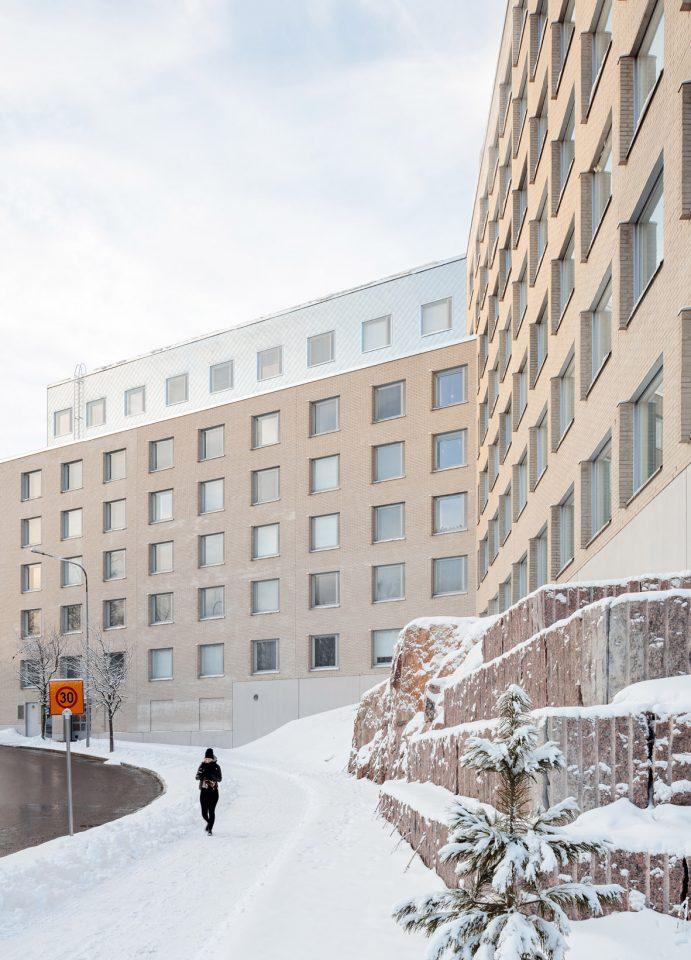 Elevation to Pietari Kalmin katu, Kumpula Student Housing