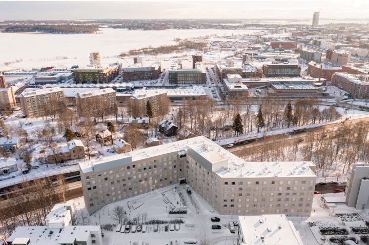 Aerial view from the nortwest, Kumpula Student Housing