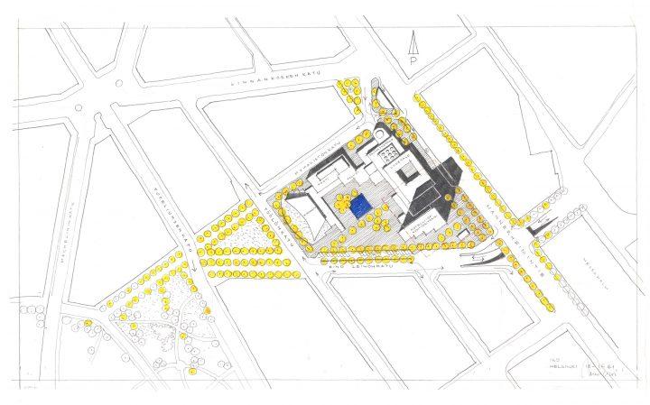 Early site plan sketch, Töölö Library
