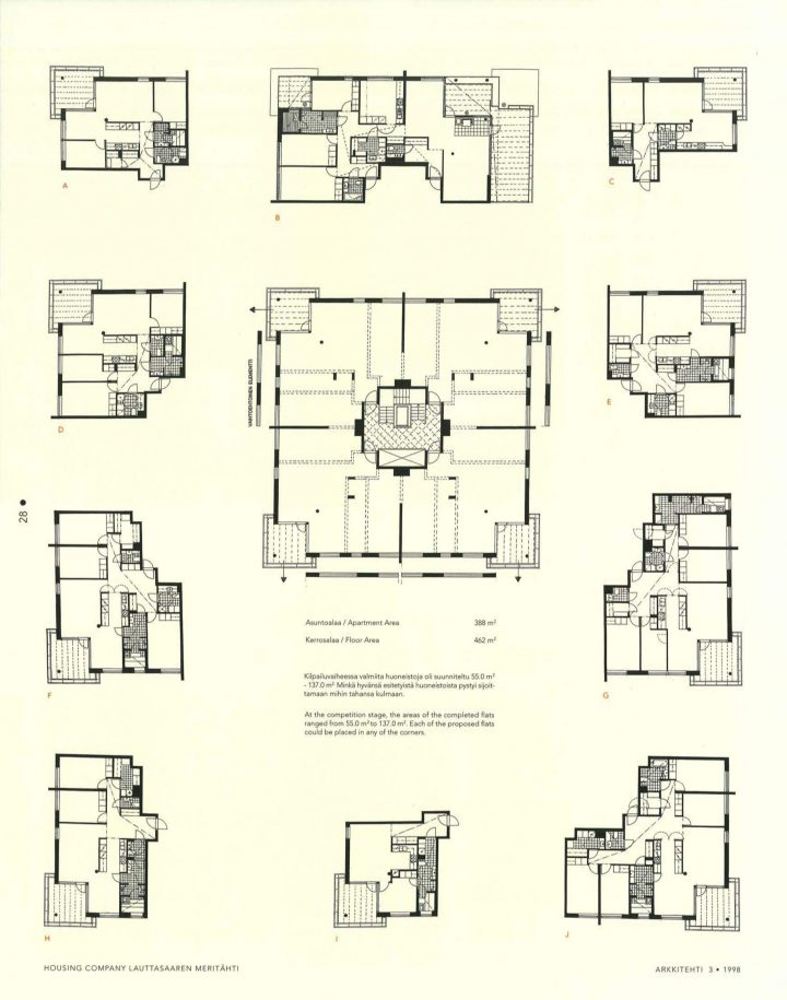 Floor plans, Meritähti Housing