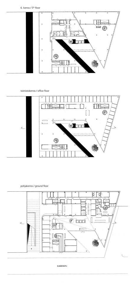 5th floor, office floor and ground floor, Sonera Office Building