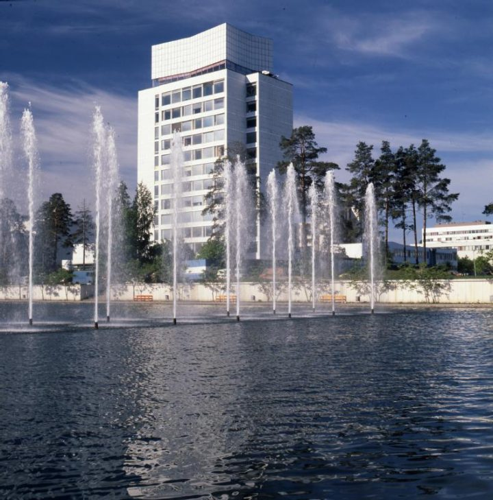 View from the central fountain, Tapiola Central Tower
