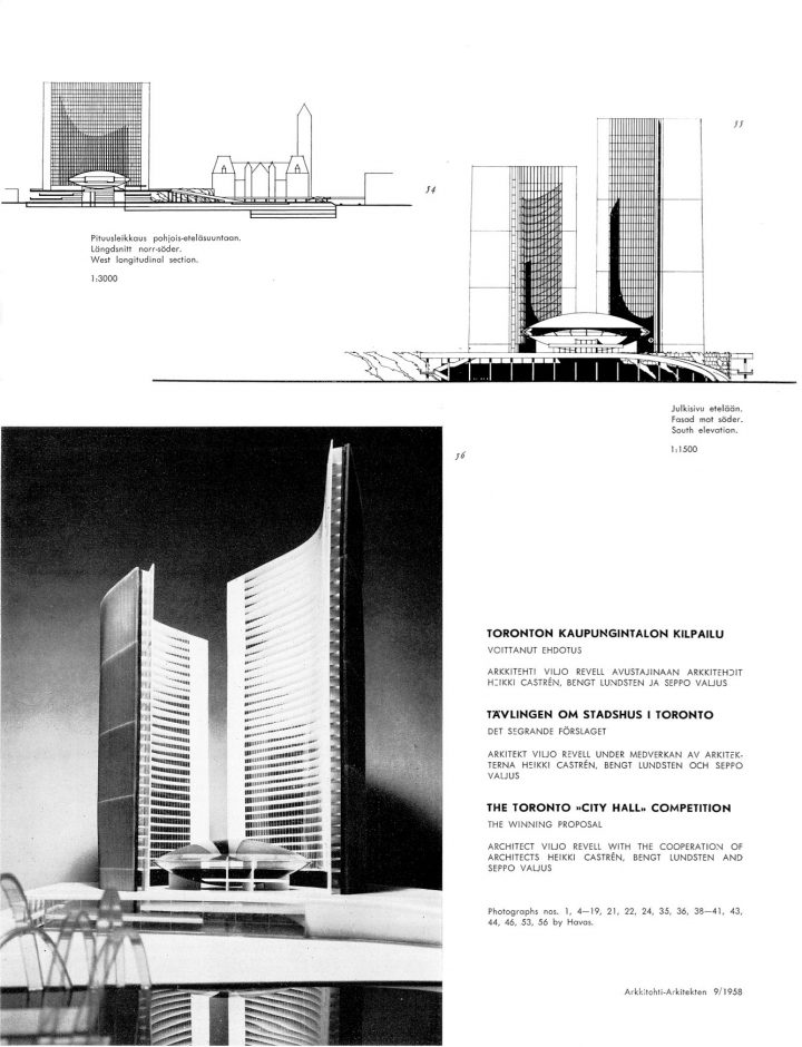 Published in the Finnish Architectural Review in 1958, Toronto City Hall