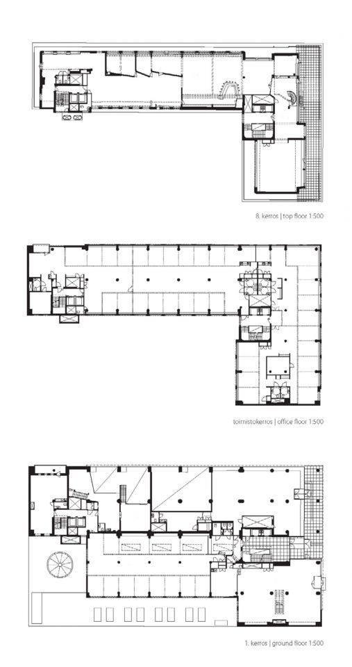 Top floor, office floor and ground floor, Voimatalo Office Building