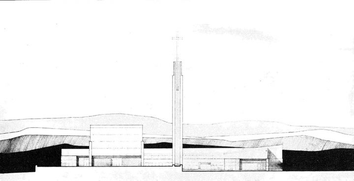 Façade drawing , Lauttasaari Church