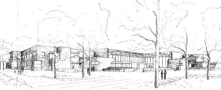 Square, perspective, Stoa Cultural Centre