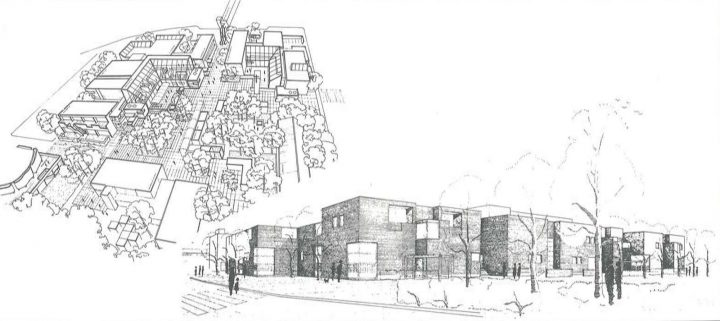 Axonometric drawing of the square, and perspective from the east, Stoa Cultural Centre