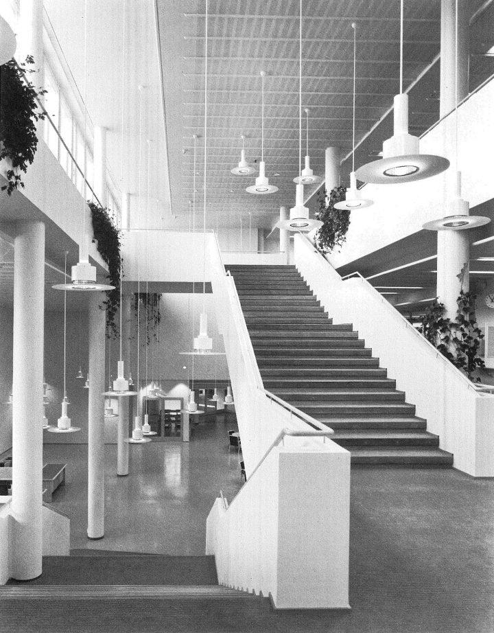 Main building, library hall stairway, University of Joensuu