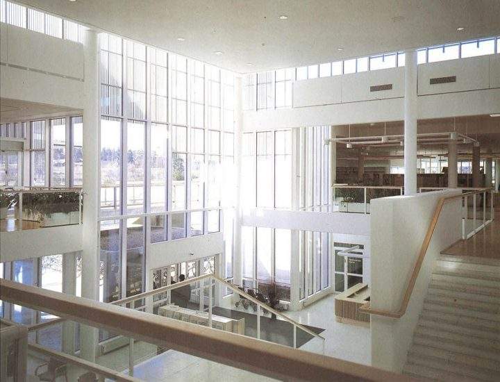 View into the library and lower lobby, Imatra Cultural Centre