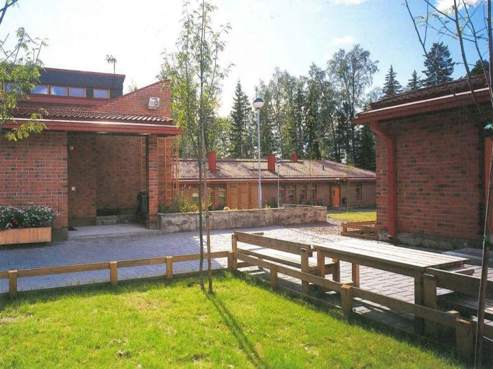 View from the school building yard towards the children's home, Children's Home
