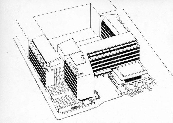 Axonometric drawing, Helsinki University Porthania Building
