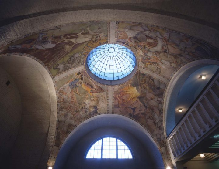 Kalevala themed frescoes by Akseli Gallen-Kallela from 1928 in the entrance hall, National Museum