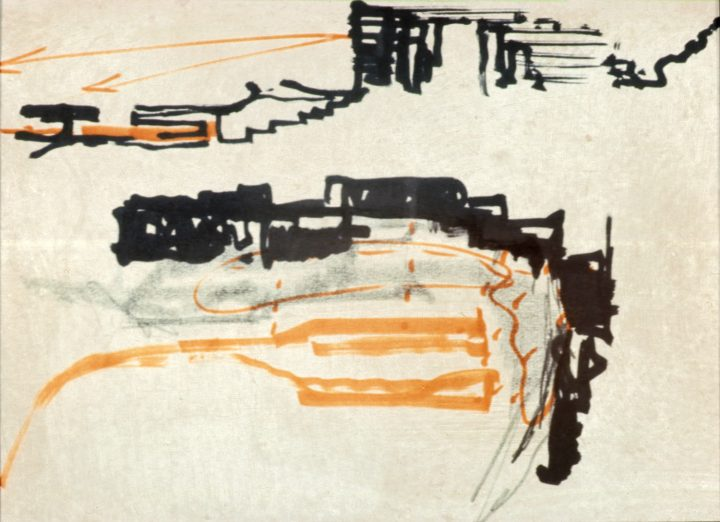 Reima Pietilä's sketch, Suvikumpu Apartment Block